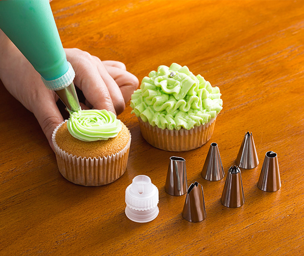 57PCSSet 4Size Silicone Icing Piping Cream Pastry Bag+48x Stainless Steel Nozzle Tips+5x Converter DIY Cake Decorating Tools (34)