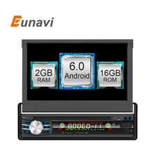"Eunavi 2GB Android 6.0 Universal Single 1 DIN 7"" Car Radio Stereo Quad Core Head Unit Support Dual Zone Steering Wheel Came"