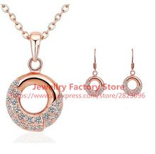 300sets /lot round style lady jewelry set necklace earrings rose gold color crystal zircon earrings necklace wholesale jewery