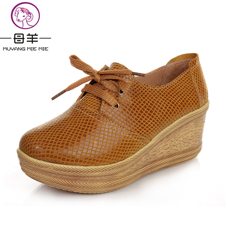 MUYANG MIE MIE 2018 spring and autumn women shoes woman genuine leather wedges shoes platform casual shoes female single shoes<br>