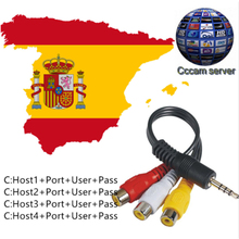 AV Cable 3 Clines Digital TV Satellite Receiver dvb-s2 dvb-t2 FTA cccam cline for 1 year freesat v7 receptor For Spain French