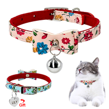 Personalized Cat Collar Cats Kitten Bowknot Collar With Engraved ID Tag Name Necklace With Bell Pink Blue Colors(China)