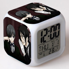 Japan Manga LED Alarm Clock Glowing Colorful Touch Light Amine Figurine Desktop Watch Black Butler Toys for Kids