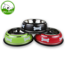 Stainless Steel Dog Bowl Anti Slip Pet Feeder Puppy Cat Food Drink Water Dish With Bone Printed Red Green Black(China)
