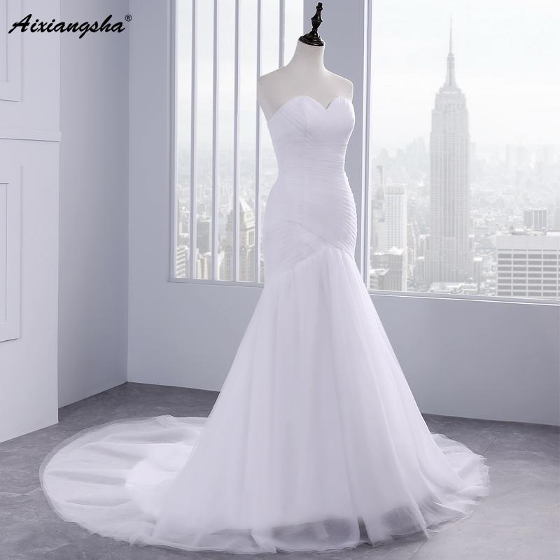 Hot sale floor length pleat cheap wedding dresses tulle robe de mariage Elegant Mermaid wedding dress 2017 1