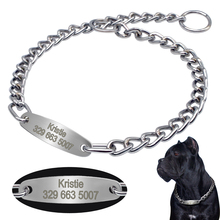 Personalized Pet Dog Chain Choke Collar Pets Training Engraved ID Slip Collars Choker For Medium Large Dogs(China)