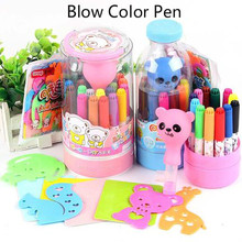 Multifunction Blow Color Pen with mould washable safe children drawing painting set Dual use color pen art marker gift for kids(China)