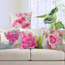 Fashion High Quality Cotton Linen Beautiful Pink Rose Decorative Throw Pillow Case Cushion Cover Sofa Home Decor