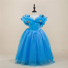 2017 Blue Girl Movie Cosplay Fairy Cinderella Princess Dress High Quality Halloween Kid Girls Cinderella Performances Dresses