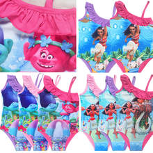 2017 robe fille Moana Girls dress baby Girl Bikini one piece Swim Bow wear Kids Bathing Children trolls dress Swimsuits biquini