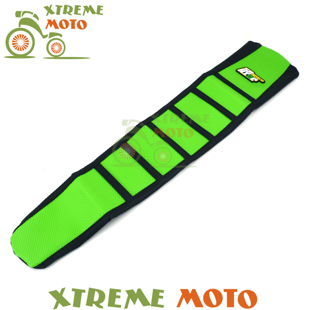 Green Rubber Vinyl Motorcycle Gripper Soft Seat Cover For Kawasaki KXF 250 450 KXF250 KXF450 2004 2005<br>
