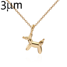 3UM Balloon Dog Necklace Small Cute Animal Puppy Necklace Brass Pet Charm Necklace Dog Lover Jewelry Gold Rose Gold Silver Color(China)