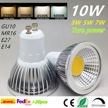 GU10 cob dimmable led bulb spotlight 3w 5w 7w 10w e27 mr16 warm white 2700k 3000k daylight white real power 20pcs free dhl home(China)