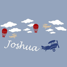 Clouds Hot Balloon Airplane Plane Helicopter Personalized Customized Name Boy Vinyl Wall Sticker Decal Mural Words Art 80x160cm(China)