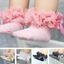 2017 Newborn Baby Socks Lace Princess Bowknot Infant Socks Ruffled Baby Knitting Cotton Short Warm Socks 0-2 Years