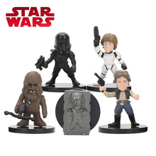 5pcs/set 5.5cm Star Wars Toy Han Solo Darth Trooper Luke Skywalker Chewbacca PVC Action Figure Set Star Wars Figure Toys(China)