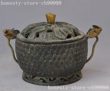 christmas Dynasty Palace old chinese bronze lotus Bullions incense burner Censer statue halloween