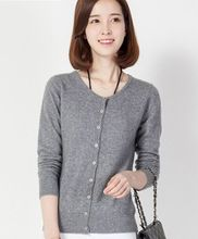 2017 Female New Cashmere Cardigan O-Neck Knit Shirt Slim Korean Version Of The Big Yards Short Sweater Women Dress(China)