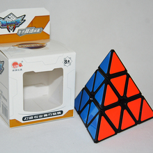 Brand Cyclone Boys Pyraminx 3x3x3 Black Magic Cube Speed Puzzle Cubes Educational Toys Mugua Pyramid Stickerless(China)