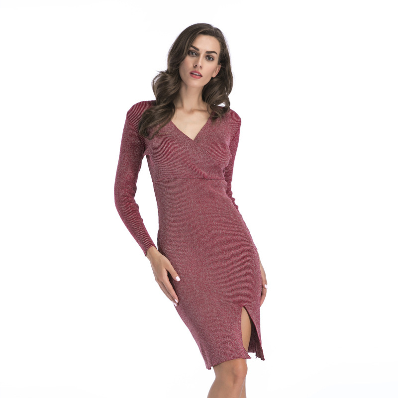 New Fashion Women V Neck Long Sleeve Pencil Dress Female Autumn Winter Slits Hem Split Knitted Sweater Dress Long Hip DressÎäåæäà è àêñåññóàðû<br><br>