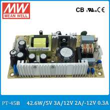 Original MEAN WELL PT-45B 45W triple output 5V 12V -12V Switching Power Supply open frame type PT-45
