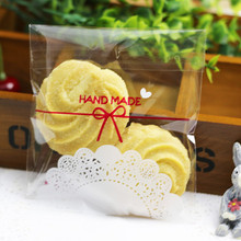 100pcs 10x11+4cm Handmade in Lace Bakery Cookie Candy Sweet Biscuit Gift Soap Favor Cello Self-Adhesive OPP Plastic Bag