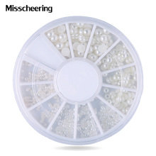 Mix Sizes White Nail Art Tips Half Pearls 3d Nail Beads Rhinestone Decoration DIY Beauty Salon Nail Wheel