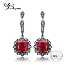JewelryPalace Vintage 4.5ct Square Created Ruby Drop Earrings 925 Sterling Silver Fine Jewelry Nice Gift For Woman/Wife/daughter(China)