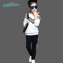 Aixinghao Children Clothing Sets For Girls Sport Clothes Navy Style Girls Sports Suits Teenage Kids Tracksuits Sportswear