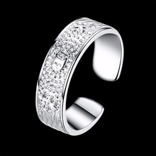 Open size any size option finger wear silver color Rings nice gift box free for simple life Party Fashion New Rings(China)