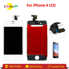 Elifeking White/Black Color High Quality LCD Display For iphone 4 Touch Screen Digitizer Replacement Part + Film + Free Shipping