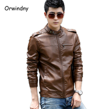 Men's Clothing 2017 New Fashion Mens Leather Jackets And Coats Slim Leather Motorcycle Jacket Men Brown Leather Jacket Men 4XL(China)