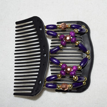 Golden purple  shining  beads comb   20 pcs / lot Magic Strecthy Hair Combs Double Clips Tuck Combs Hair  Hairpins