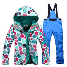Female Snow suit Sets womens Snowboarding clothing waterproof windproof ladies ski suit jacket and bibs pants outdoor costumes