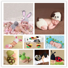 2017 Fashion Newborn Baby Photo Props Outfit Costume Rabbit Knit Hat Pant Set Infant Photo Shoot Accessory Knit Newborn Outfits