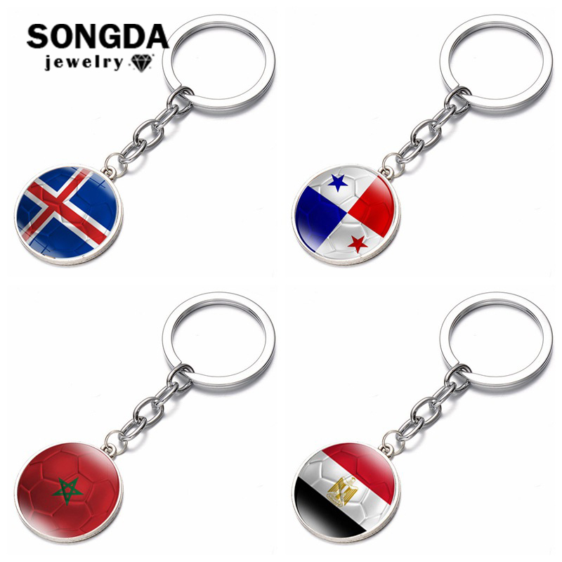 2018 World Cup Keychain Gemstone Flag Charm Keyring Soccer Lover Gift For Him