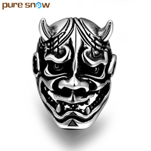 Pure Snow Personality Punk Simulation Cow Devil Mask Stainless Steel Skull Ring For Men Jewelry