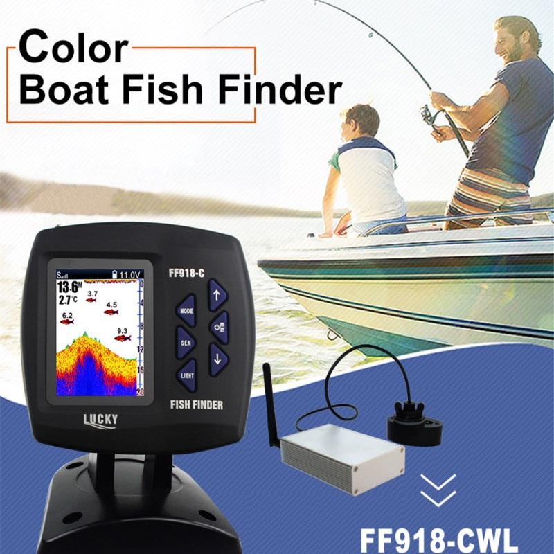 Sonar For Fishing FF918-CWLS Wireless Echo Sounder Fishing Alarm Boat Fish Finder 300m980ft For Underwater Deeper Hunting (10)