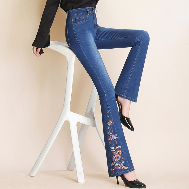 Brand sell well high waist embroidery micro-horn jeans women cowboy trousers thin wide leg denim flares Pants 26~32