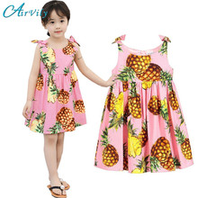 2017 Direct Selling Rushed Summer Girls Dress A-Line  Fruit Pineapple Children Princess Infant Print Kid Sleeveless Clothing
