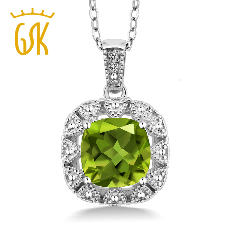 GemStoneKing 2.46 Ct Cushion Natural Green Peridot White Diamond 925 Sterling Silver Pendant Necklace For Women
