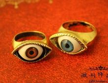 Vintage Retro Europe Punk Gothic Exaggerated Vampire Blue Bronze Eye Rings Free Shipping(China)