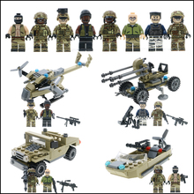 WW2 military building blocks army Soldiers Models bricks with weapons&guns helicopter submarine learning Toys For Children