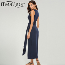 Buy Meaneor Brand Women 2017 Wrap Maxi Dress Sleeveless Sexy Deep V Neck Tank Summer Dresses Belt Casual High Waist Vestidos for $20.99 in AliExpress store