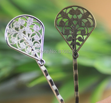 23x29mm Blank Hairpins Base Settings Filigree Hollow Flower Pads Bobby Pins Hair Clip Crafts Findings Silver/ bronze tone