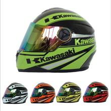 (1pc&4colors) High Quality Kawasaki Brand Motorcycle Full Face Helmet Motorbike Helmets Motocicleta Capacete Casco