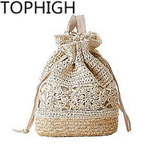 New Drawstring Straw Beach Bags Female Handmade Fashion Printing Travel Backpack Summer Fresh Floral Double Shoulder Bags B535(China)