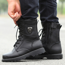 Round Head Motorcycle Boot Men Martin Boots Outdoor Motocross Moto Motorcycle Motorbike Boots Leather Shoes QP065