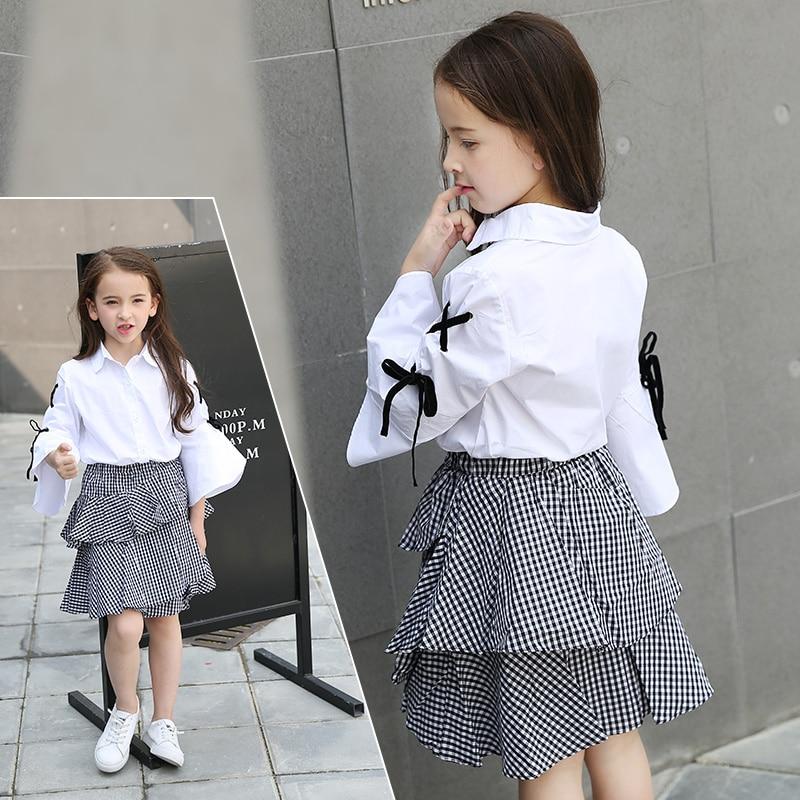 Summer Girl White Blouse Shirt Cotton Pagoda Sleeve Blouse+Black Plaid Skirt Two-piece Set Teen Girls Clothing Set Size 10 12 14<br>