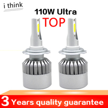 H4 H7 COB LED Headlight kit 110W 11000LM Car LED C6 Headlights Bulb H11 9003 9005 9006 Fog Light 6500K ultra bright freeshipping